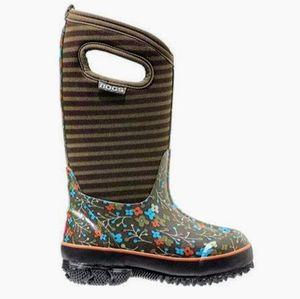 BOGS Waterproof Boots Flower-Stripe Kids Size 4